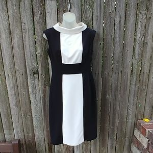 90s Does 60s Vintage Mod Scooter Black White Dress